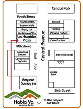 Kaart van Boquete met de locatie van Habla Ya Language School